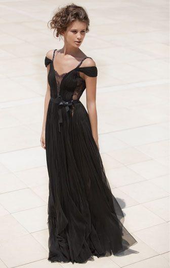 Wedding Dressses, Evening Dresses, Fashion, Style, Black Dresses, Flowing Dress, Flow Dress, Black Gowns, Mira Zwillinger