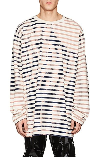 d46dccb942a76c Faith Connexion Bleach-Striped Cotton Oversized T-Shirt