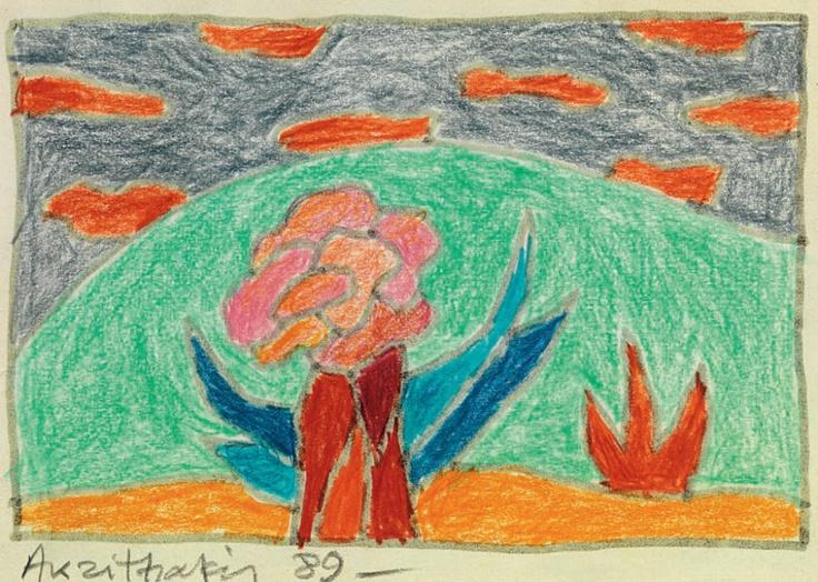 Ακριθάκης Αλέξης-Τοπίο με λουλούδι, 1989