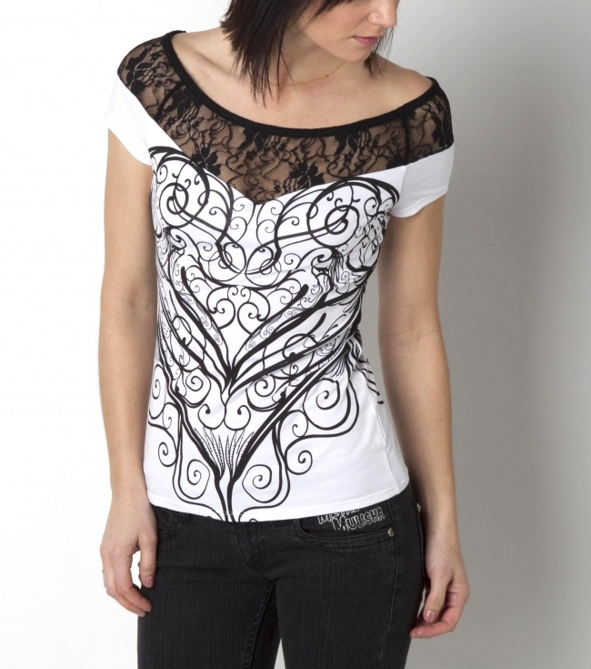 New Metal Mulisha Maidens. Eli Top. Black lace detail.