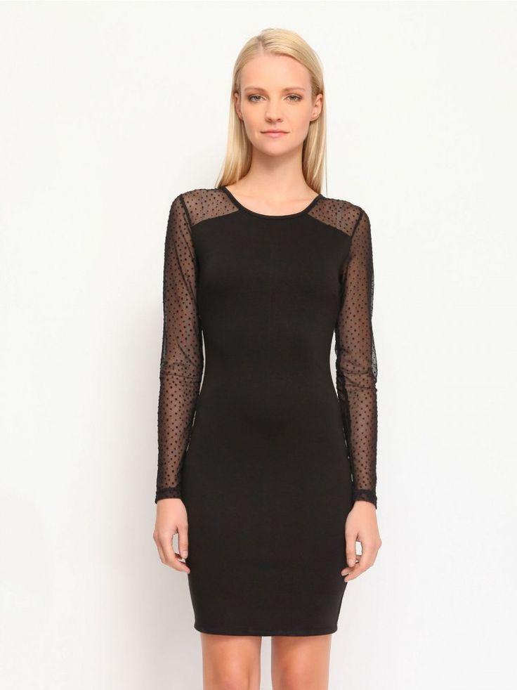 Γυναικείο φόρεμα με διαφάνεια Χρώμα: Μαύρο