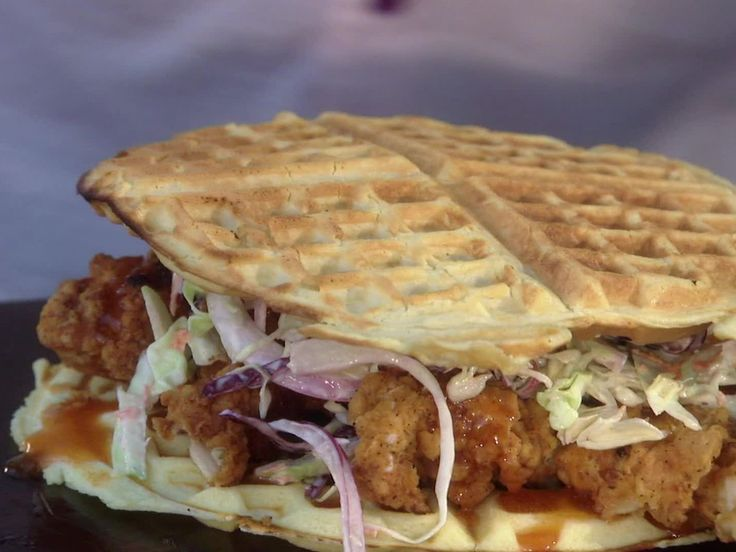 Fried Chicken and Waffle Sliders with Spicy Mayo recipe from Guy Fieri via Food…