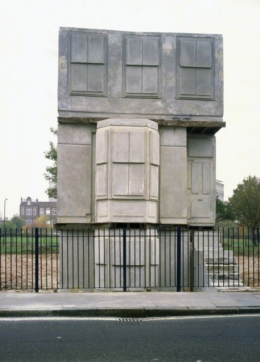 "Rachel Whiteread's ""House"". An east-end terrace house cast in concrete"
