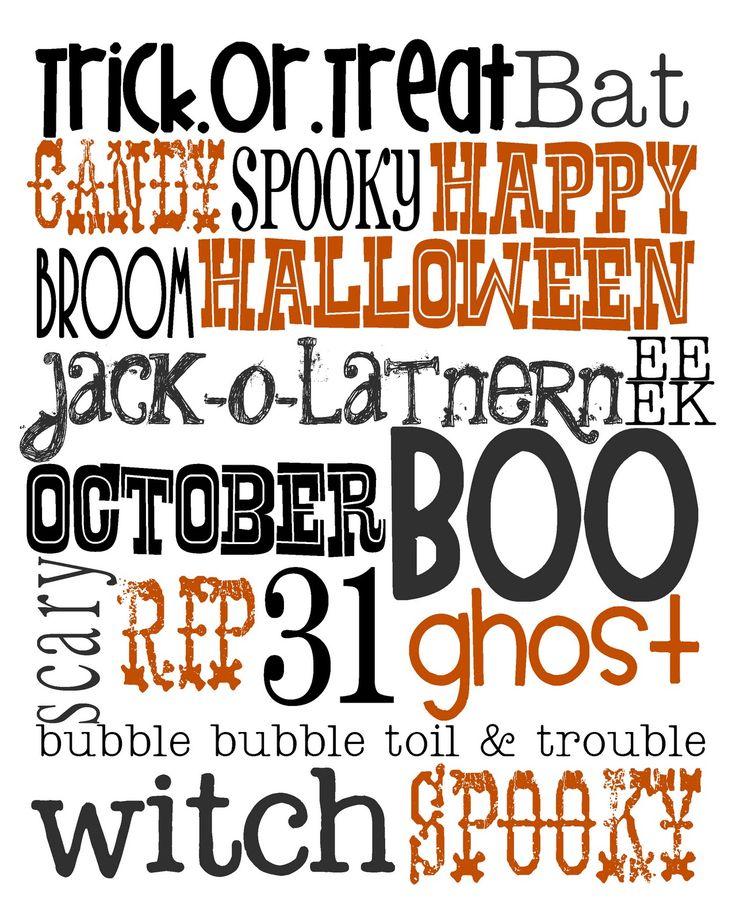 {Free Halloween Printable}: Happy October, Free Halloween, Halloween Printable, Halloween Fal, Free Printable, Halloween Art, Halloween Fonts, Halloween Subway Art, Happy Halloween