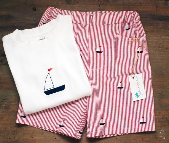 Boys Seersucker Shorts w/ Embroidered Sailboats by PalmValleyKids