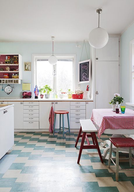 Retro cottage kitchen in Sweden. The floor is probably just marmoleum, but it's a damn sight better than my vinyl one.