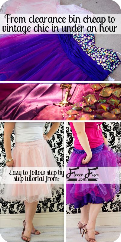 Learn how you can upscylce a dress into a fabulous skirt in under an hour. How to Convert a Prom Dress into a Skirt tutorial : From Cheap to Chic ♥ Fleece Fun #dress #prom #upcycle