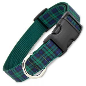 This blue, green and black blackwatch plaid dog collar is one of the oldest of tartans and a great year-round collar.
