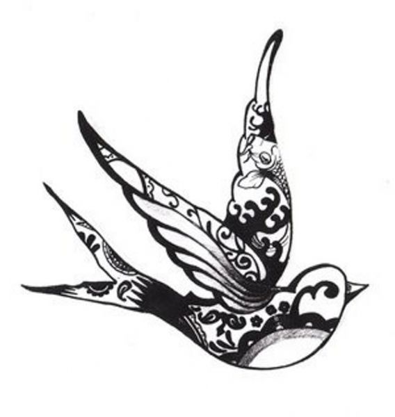 Vintage Sparrow Tattoo Design | Nep tattoo voorbeeld Zwaluw 4