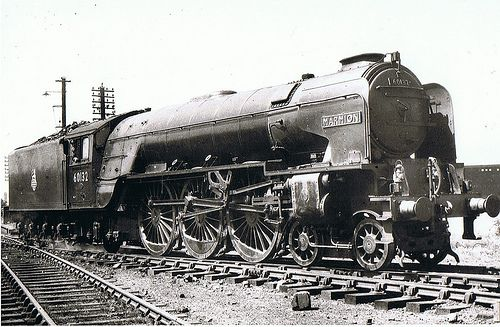 """60132 """"Marmion"""": This 1950's view of British Railways A1 Class Pacific loco 60132 'Marmion' was taken at Haymarket, Edinburgh. The recently completed A1 'Tornado' carries the number 60163, continuing the number sequence. Marmion was a batch of loco's named after Sir Walter Scott's characters/books and she regularly covered the East Coast Main Line from Edinburgh to Kings Cross. Even at rest she looks a formidable piece of equipment. Photo by Alredbus"""