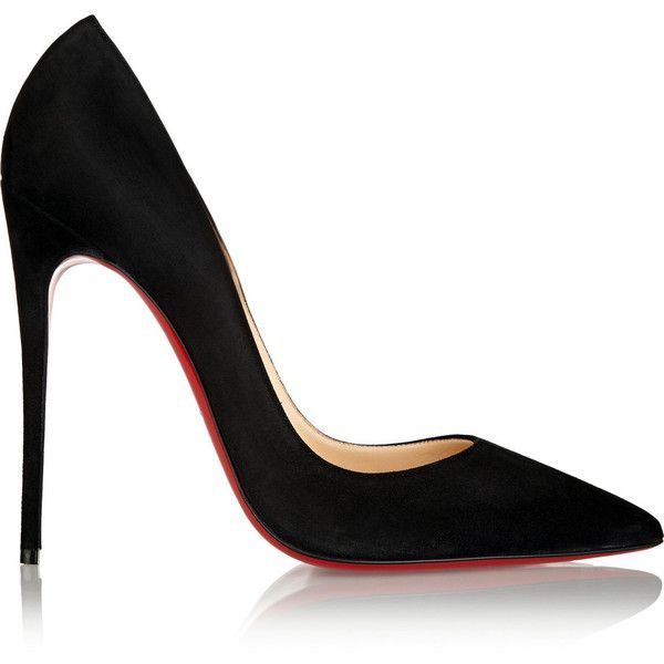 Christian Louboutin So Kate 120 suede pumps (£425) ❤ liked on Polyvore featuring shoes, pumps, heels, high heels, sapatos, pointed-toe pumps, black pointed toe pumps, black pumps, black slip-on shoes and slip on shoes