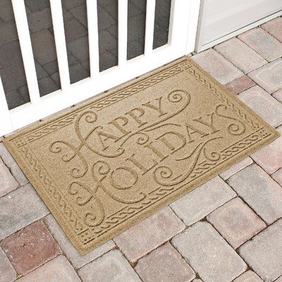 The Holiday Aisle Happy Holidays Outdoor Doormat Color: Gold