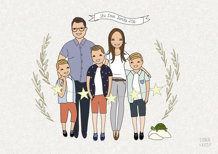 Portrait Illustration of a beautiful family. Szonja Kiss /Be My Paper