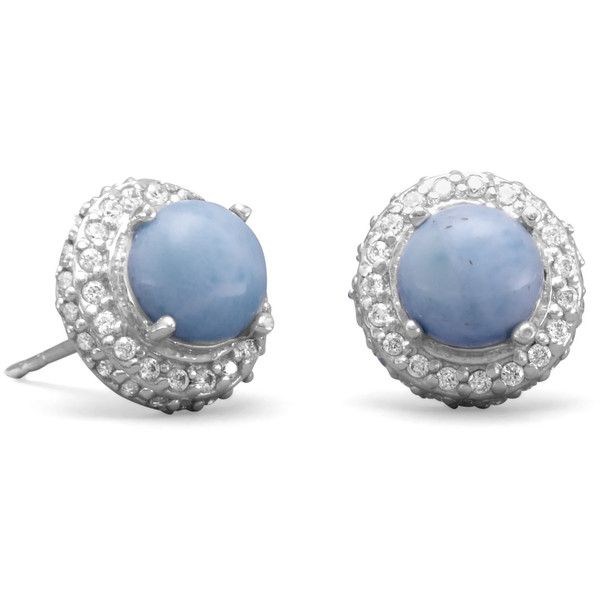 Rhodium Plated Round Larimar and CZ Earrings ($62) ❤ liked on Polyvore featuring jewelry, earrings, rhodium plated jewelry, cz jewellery, rhodium plated earrings, earring jewelry and cubic zirconia earrings