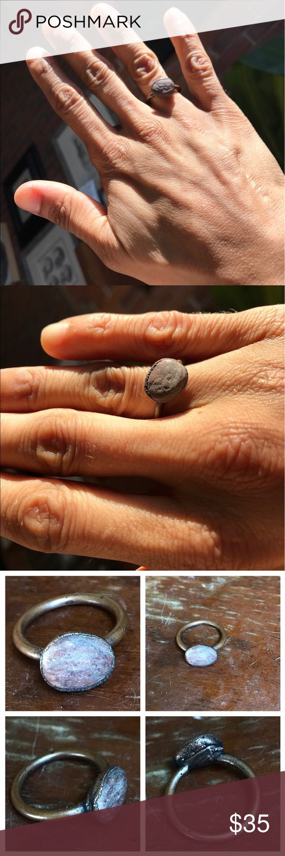 vintage rough cut opal ring fabulously understated rough cut opal ring 💍 size 5.5. bronze band. Seed to Stem Jewelry Rings