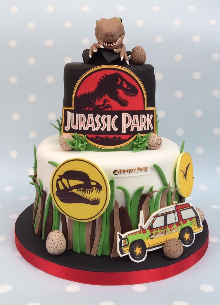 Has  Jurassic Park themed cake www.vintagehousebakery.co ...