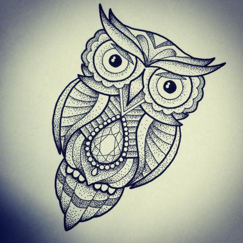 Owl illustration by apprentice Rebekka Rekkless at Adorned Tattoo, Dorset UK. https://www.facebook.com/AdornedTattoo