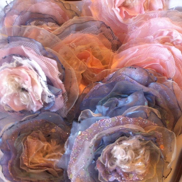 Upcycled Flowers made from thrift store prom and wedding dresses. Thank you Kalamity Kim for the awesome idea!!