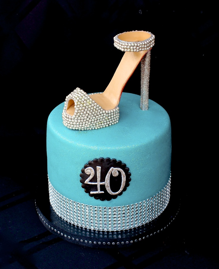 Fondant high heel shoe cake, 40th birthday cake www.facebook.com/i ...