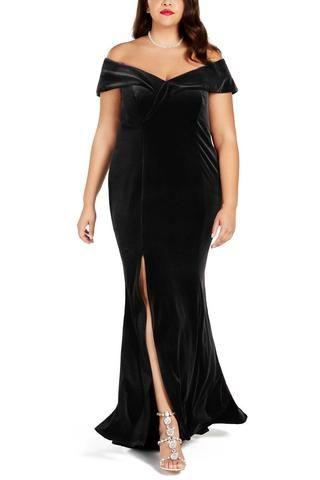 de29e4df74b Trendy Black Plus Size Her Fashion Off-The-Shoulder Velvet Party Gown