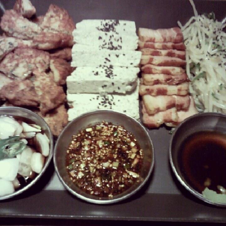 빈대떡+고기+두부