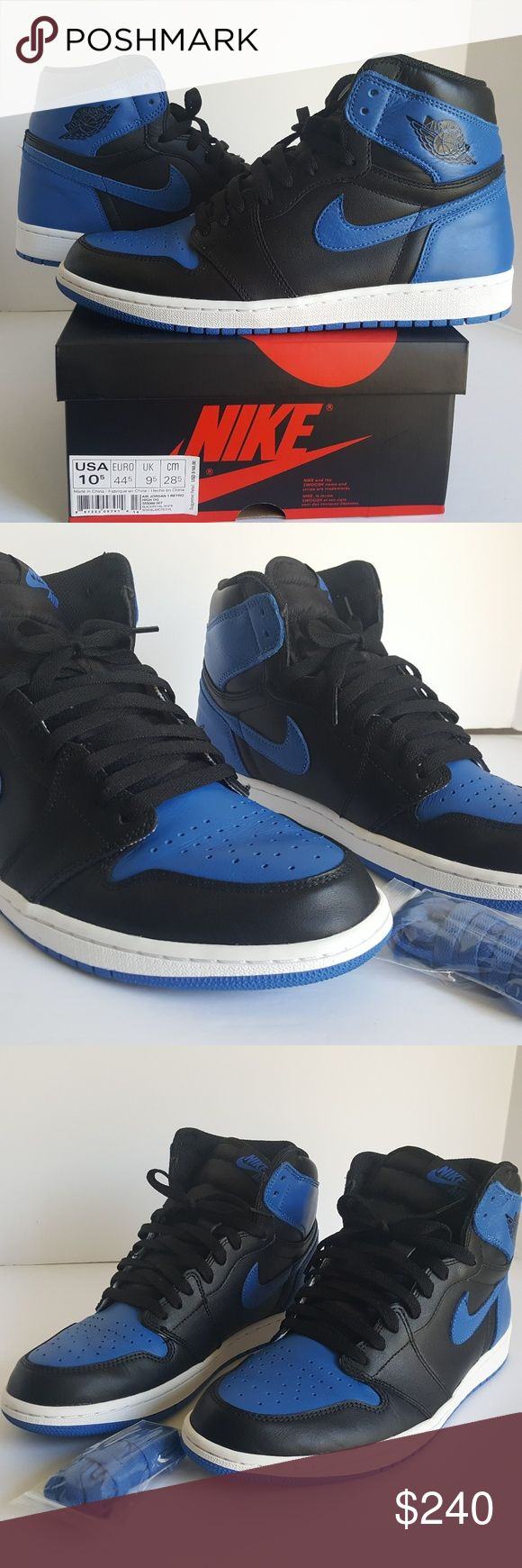 Air Jordan Retro 1 Royal (sz 10.5) 9.5/10 cond All Original (both laces included) Worn Twice  (No Damage)  Hard to Find Item Air Jordan Shoes Athletic Shoes