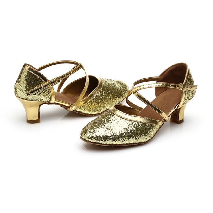 Free Shipping Hot Sale Golden Top PU Glitters Latin Dance Shoes Woman Salsa Ballroom Shoes Zapatos De Baile Latino Mujer 228 #Affiliate
