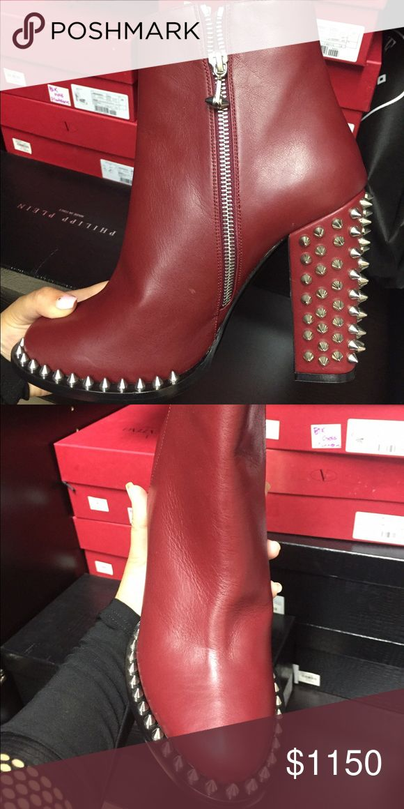 Red Philipp Plein Spiked Ankle Boots Beautiful dark red leather Philipp Plein spiked ankle boots. Size 37 and 38. Made in Italy. Call or text me at 786-516-4500. Let me know if you want more pictures and info. Serious inquiries only. :) Philipp Plein Shoes Ankle Boots & Booties