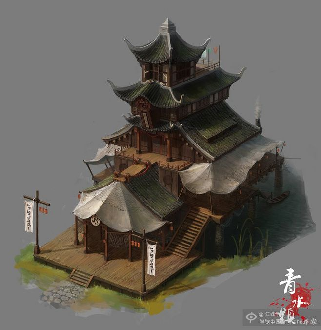 """개념 설계 - """"그린 타운""""CG 게임 장면"""
