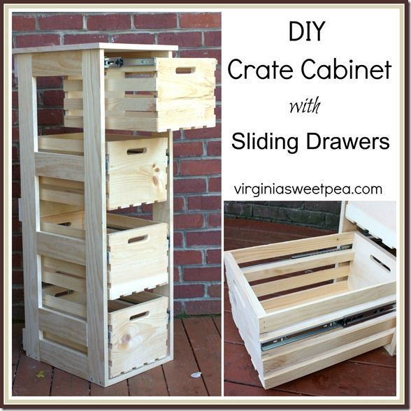 DIY Crate Cabinet with Sliding Drawers.  This cabinet is terrific for storage.  The tutorial shows you how to make your own.   virginiasweetpea.com