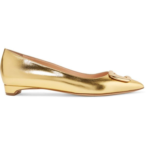 Rupert Sanderson Bedfa metallic leather point-toe flats ($675) ❤ liked on Polyvore featuring shoes, flats, gold, kitten heel shoes, metallic flat shoes, metallic flats, leather flats and flat slip on shoes
