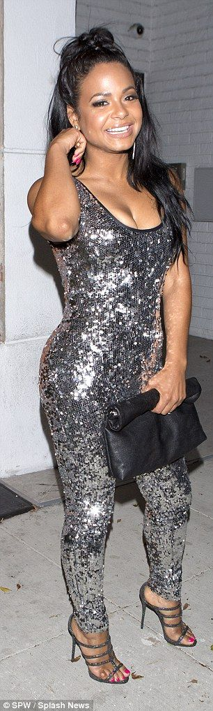 Christina Milian dazzles in bodycon silver jumpsuit for dinner in Beverly Hills | Daily Mail Online