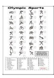 English worksheet: Pictogram Olympic Sports