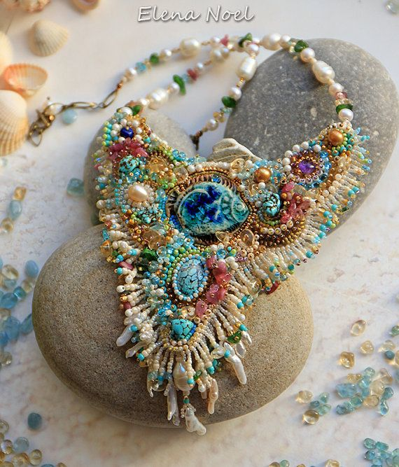 """Necklace """"coral reef and fish"""" 24K gold beads, gems.  Necklace Bead Embroidery Art"""