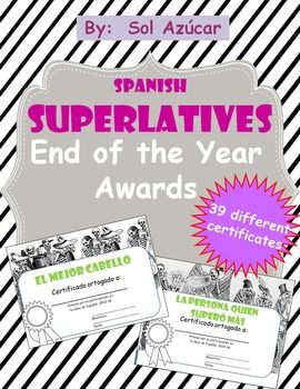37 best certificatesawards images on pinterest classroom ideas spanish superlatives end of the year certificates yadclub Images