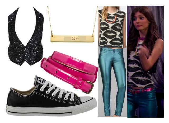 """Victorious : Tori Vega (Victoria Justice)"" by carlou863 ❤ liked on Polyvore featuring Episode, 7 For All Mankind, Charlotte Russe, ASOS, Converse, victoriajustice, Victorious and ToriVega"