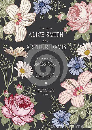 180 best Wedding invitation Card Frame Flowers Drawing engraving - best of invitation card vector art