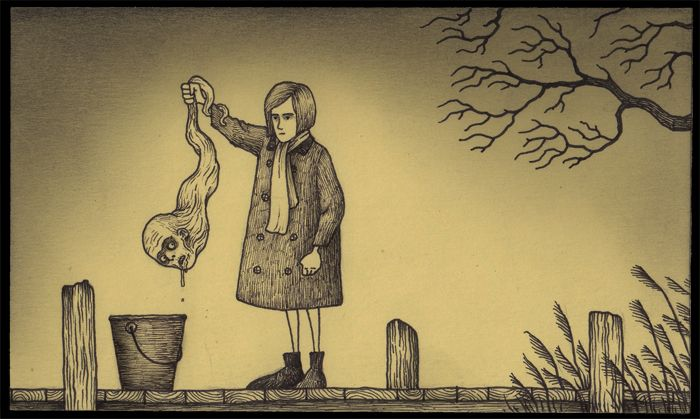 Guy Draws The Creepiest Doodles, All On Post-It Notes!