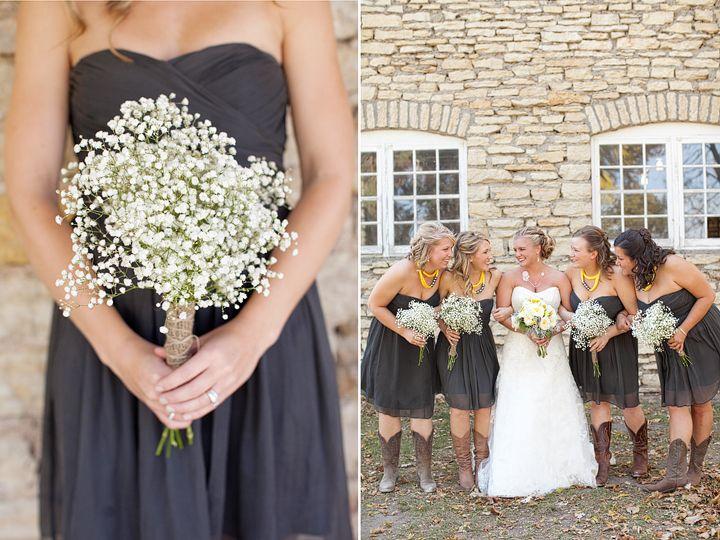 Bridesmaids, Cowboy Boots, Baby's Breath Bouquets #mayowoodstonebarn