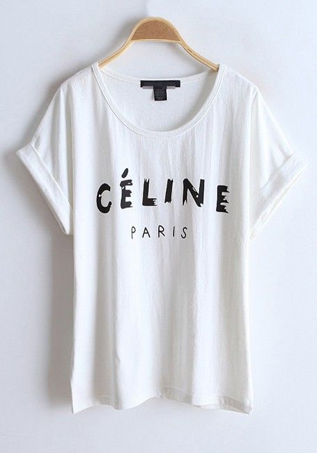 White Letter Collarless Batwing Short Sleeve Cotton T-Shirt