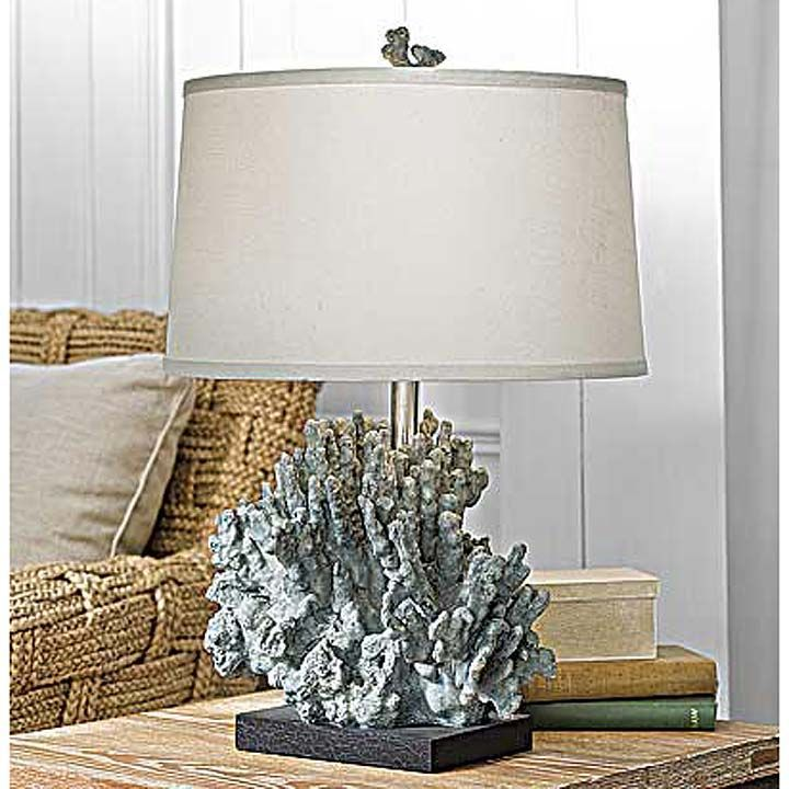 Large Blue Gray Coral Lamp