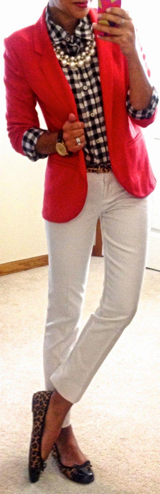Gingham shirt, red blazer, leopard print accessories.