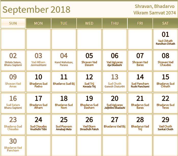 Hindu Panchang Calendar for September 2018 September 2018 Calendar