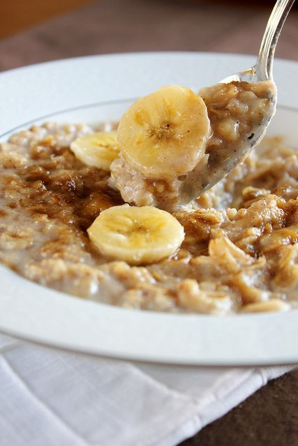 Banana Bread Oatmeal. I eat this breakfast every single morning. It is so freaking good! My recipe: 1 cup almond milk, 1/2 cup oatmeal, and 1 whole banana.