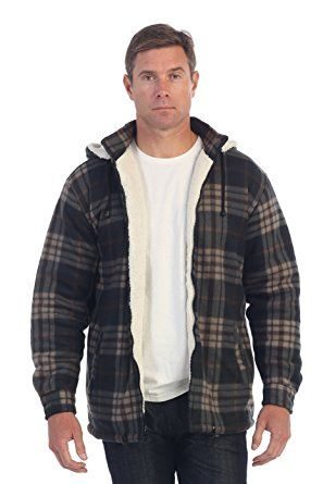 Gioberti Mens Sherpa Lined Flannel Jacket with Removable Hood, Khaki / Charcoal B, XL