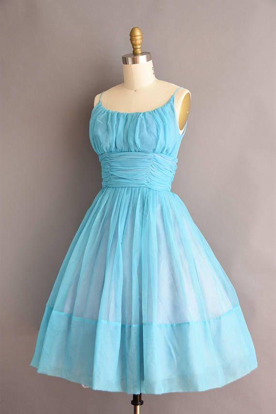 50s blue chiffon full skit vintage party dress. 1950s vintage
