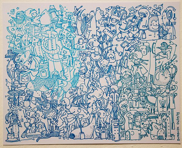 """Anécdotas Nocturnas"", tamaño 28x35 cm, microfibras de colores /  ""Nocturnal Stories"", size 28x35 cm, color pens"