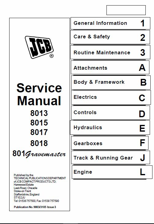 Jcb 8013  8015  8017  8018 Mini Excavator Service Manual