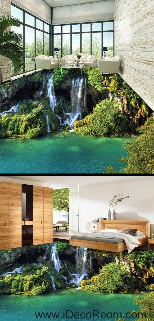 Waterfall Cliff Green Mountain 00096 Floor Decals 3D Wallpaper Wall Mural Stickers Print Art Bathroom Decor