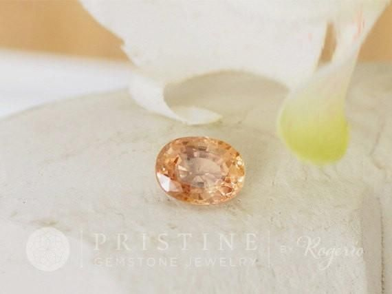 Loose Peach Champagne Sapphire Oval Shape #Bead #champagne_sapphire #custom_engagement